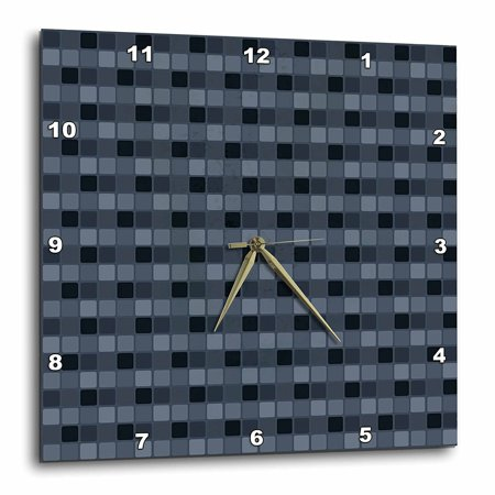 - 3dRose Navy Blue Squares Geometric, Wall Clock, 13 by 13-inch