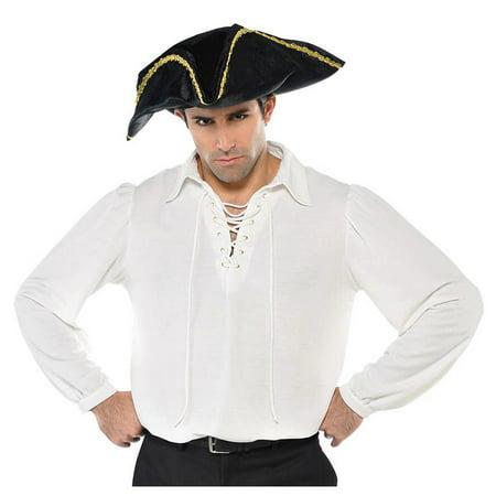 White Pirate Shirt Adult Costume - - Pirate Costume Skirt