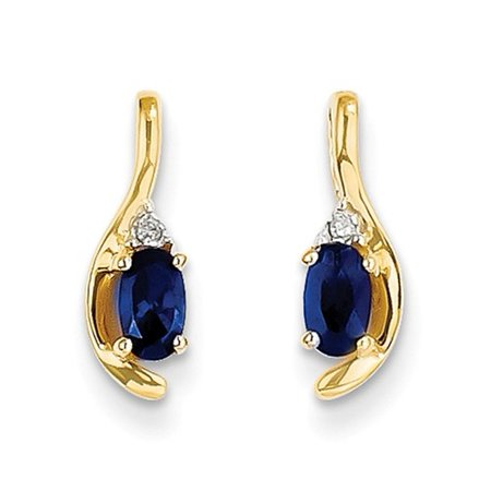 14k Yellow Gold 0.5IN Long 5x3 Oval Diamond & Genuine Sapphire Earrings (Diamond Long Earrings)