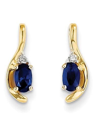14k Yellow Gold 0.5IN Long 5x3 Oval Diamond & Genuine Sapphire Earrings