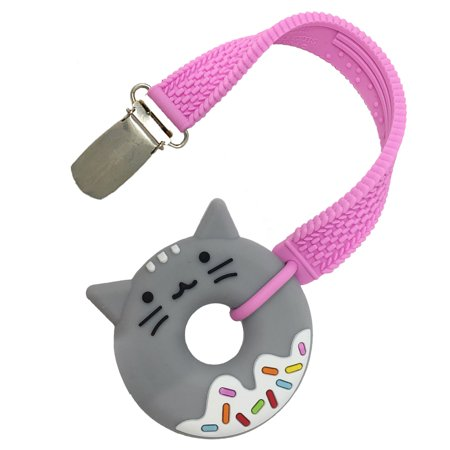 Silli Chews Baby Teether and Pacifier Clip Kitty Cat Teething Ring Silicone BPA Free Teething Toy For Infants, Toddlers, and Kids, Boys and Girls