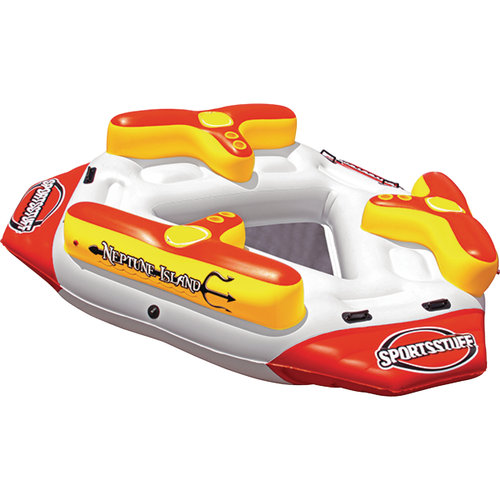 Sportsstuff 54-2030 Neptune Island Inflatable with Built in Coolers and Cup Holders for 1-6 Person