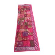 Mogul Vintage Spanish Table Runner Pink Zari Sequin Embroidery Patchwork Table Tapestry 90 inch