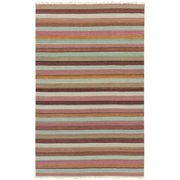 5' x 8' Calming Horizons Striped Brown, Blue and Wisteria Purple Hand Woven Wool Area Throw Rug
