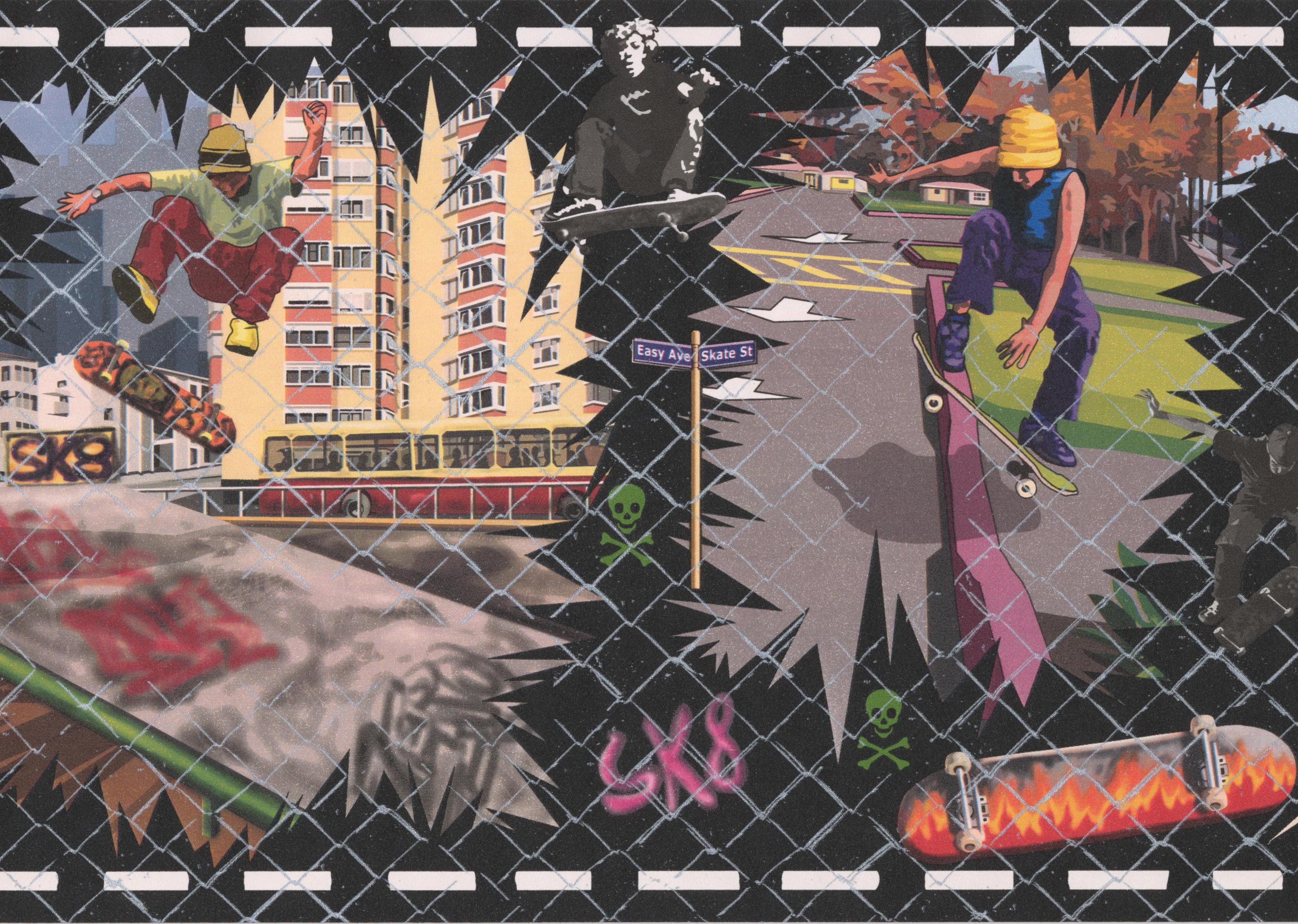 Wallpaper Border - Teens on Skateboards Wall Border Urban ...
