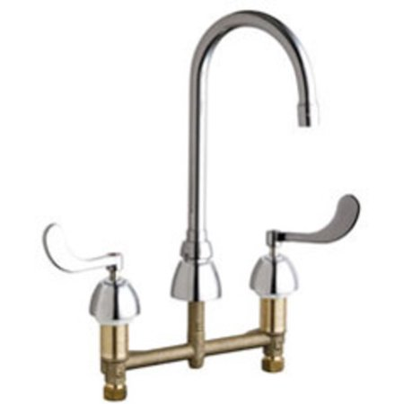 Chicago Faucets 786-E35AB Commercial Grade High Arch Kitchen Faucet with Wrist Blade Handles