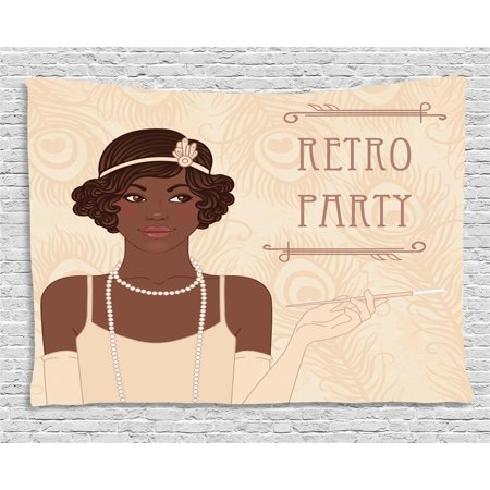Pin up Girl Tapestry, Flapper Style Teenage Girl with Vintage Long Pearl Necklace, Wall Hanging for Bedroom Living Room Dorm Decor, 60W X 40L Inches, Chocolate Beige and Umber, by Ambesonne