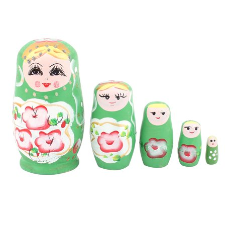 Unique Bargains 5 Layers Russian Babushka Flowers Painted Nesting Matryoshka Stacking Dolls Green