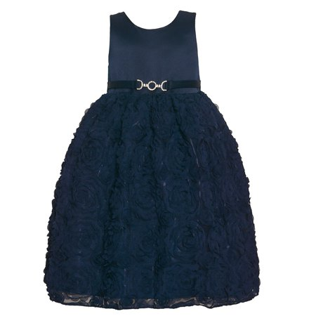 American Princess Girls Navy Brooch Rosette Skirt Occasion Dress