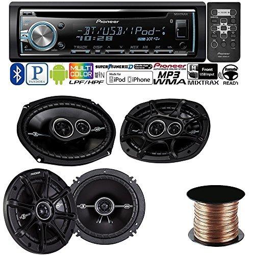 """Pioneer DEH-X6800BT CD receiver + Kicker 41DSC6934 6""""x9"""" 3-way speakers + Kicker 41DSC654 6-1/2"""" 2-way speakers + Speaker Wire 50 feet 18 gauge"""