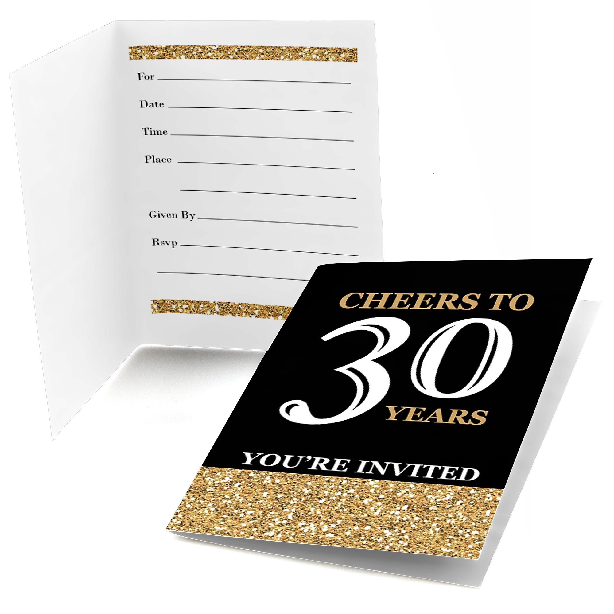 Adult 30th Birthday - Gold - Fill In Birthday Party Invitations (8 count)