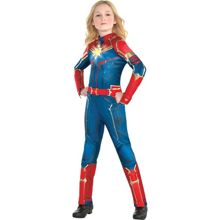 Light-Up Captain Marvel Halloween Costume for Girls, Superhero Jumpsuit, Medium