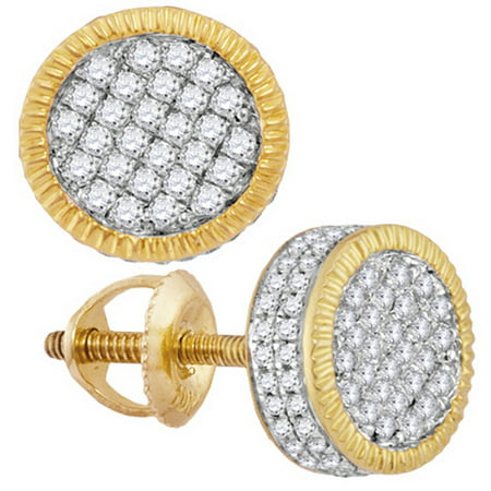 10kt Yellow Gold Mens Round Diamond Fluted Circle Cluster Stud Earrings 3/4 - Fluted Circle