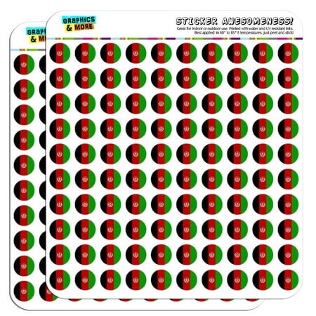 """Afghanistan National Country Flag 1/2"""" (0.5"""") Scrapbooking Crafting Stickers"""