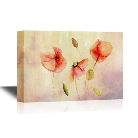 Beautiful Poppy (wall26 Canvas Wall Art - Beautiful Poppy Flowers, Watercolor Painting - Gallery Wrap Modern Home Decor | Ready to Hang - 32x48 inches)