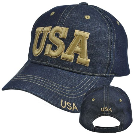 Jeans Hat (United States US USA Country Denim Jean  Curved Bill Constructed Hat Cap )