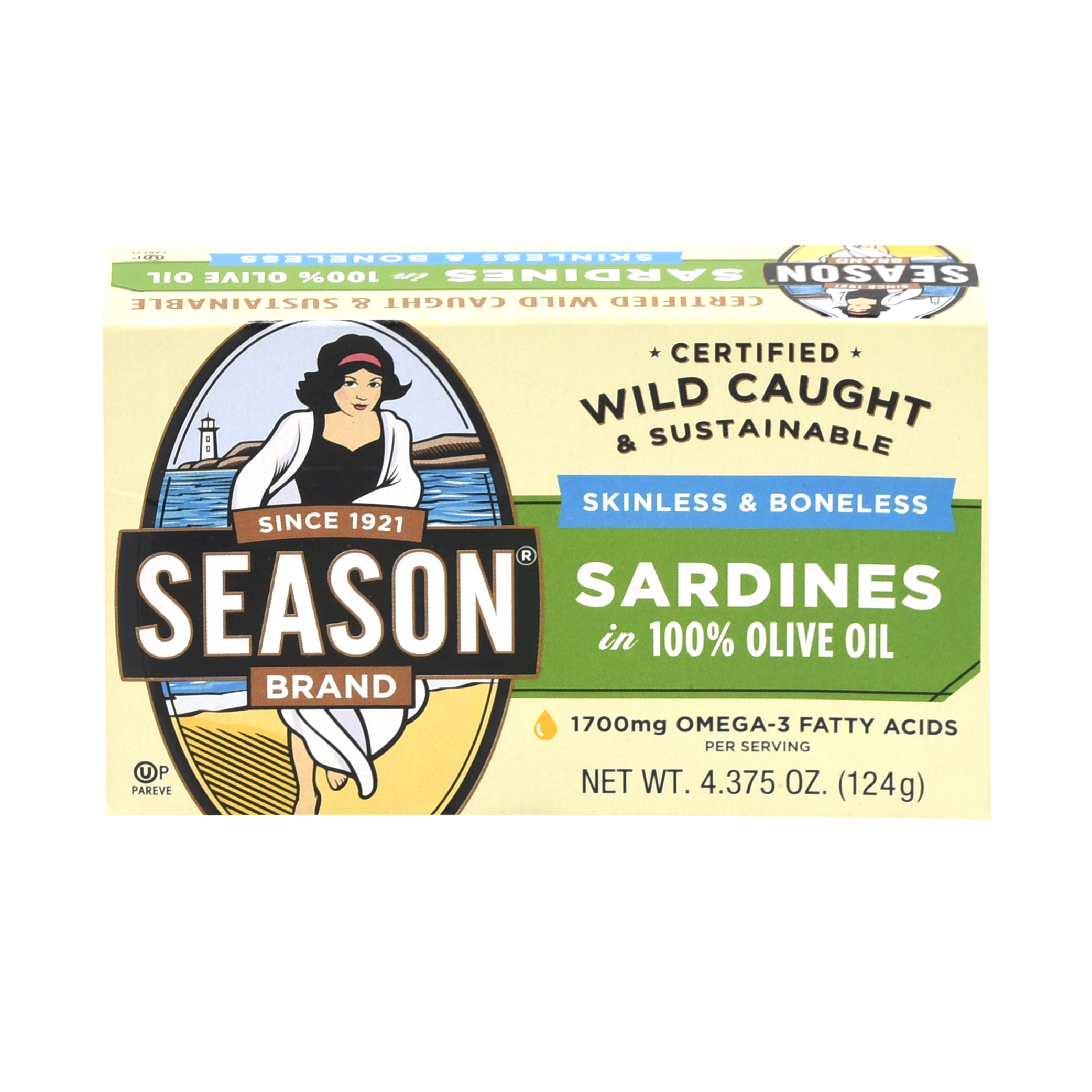 Season Brand Canned Imported Sardines, Skinless & Boneless, 4.375 Oz