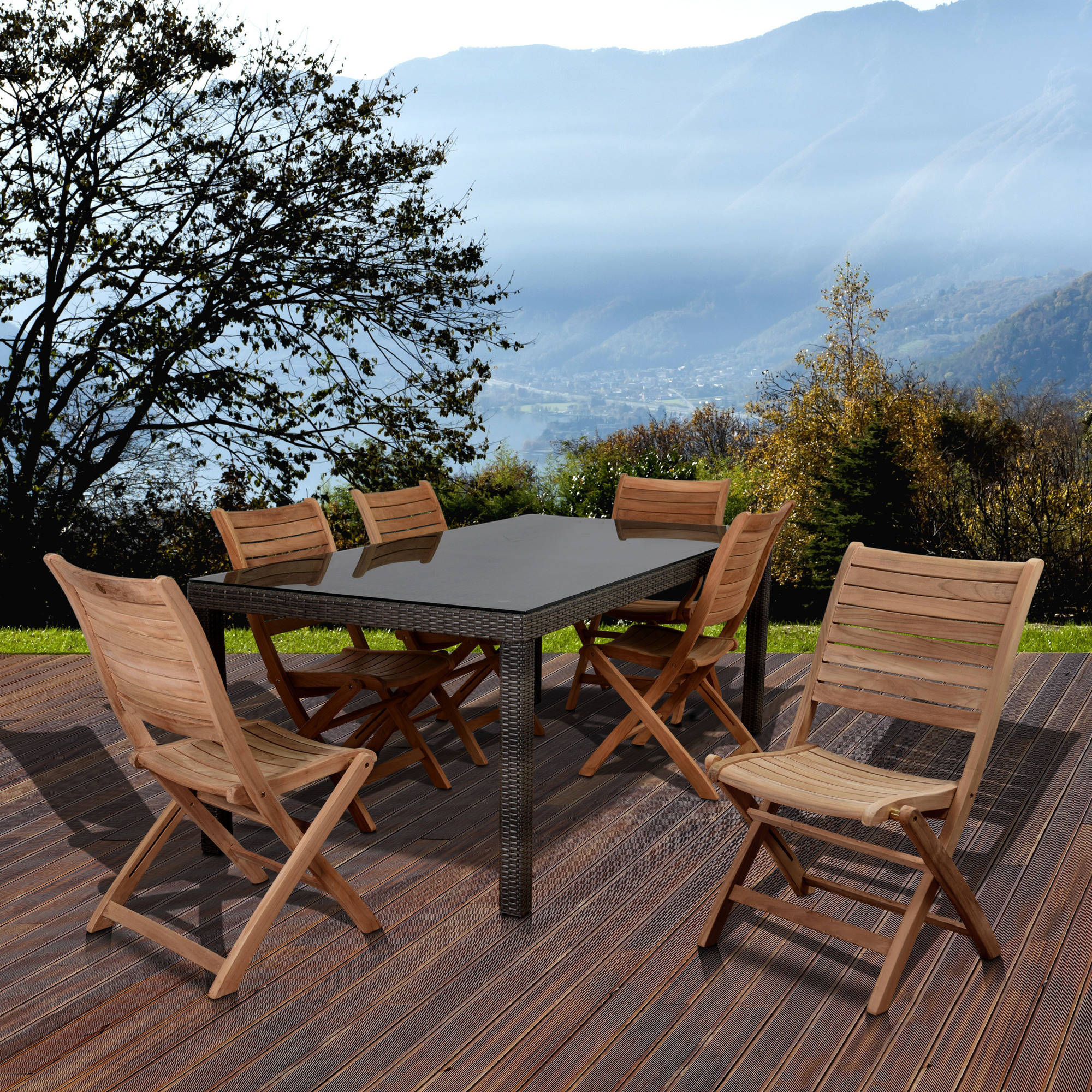 Amazonia Singapore Table with 6 Folding Palu Teak Chairs