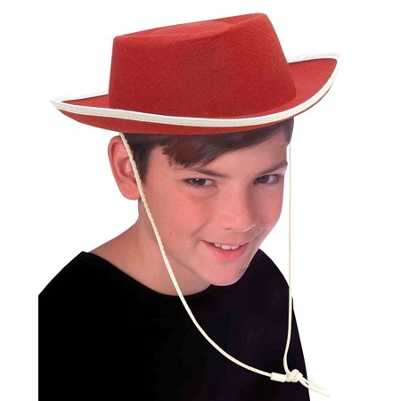 Costume Accessory Child Size Cowboy Hat, Red, Red costume hat with white trim By Forum - Child Cowboy