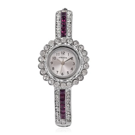 Stainless Japan (Strada White Crystal Purple Glass Japanese Movement Water Resistant Cuff Bangle Watch Silvertone with Stainless Steel Back Ct 5.3)