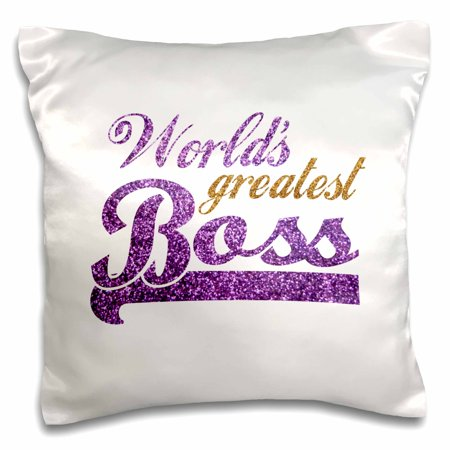 Faux Sparkles - 3dRose Worlds Greatest Boss - Best work boss ever - purple and gold text - faux sparkles matte glitter-look - Pillow Case, 16 by 16-inch