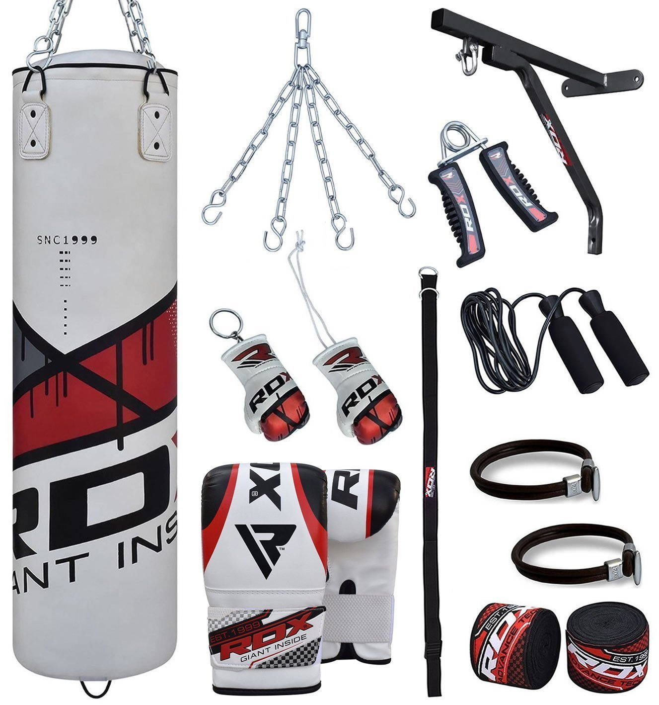 RDX Zero Impact Heavy Punching Bag 17pc Boxing Leather Mitts Gloves by RDX