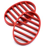 Flat Roasting Rack, Nonstick Turkey Roasting Pans With Rack - Red (pack Of 2)