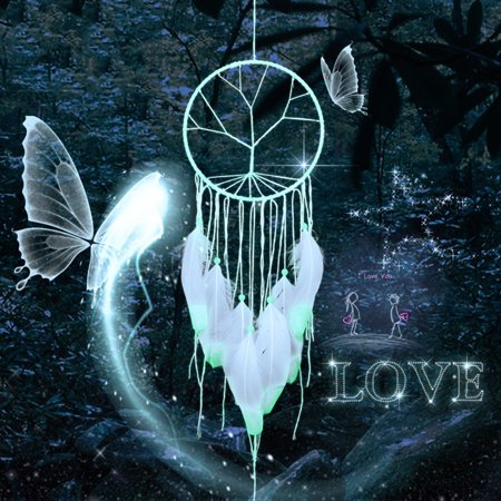 Dream Catcher with Feather Handmade Glow in the Dark Wall Hanging Decorations Wedding Party Decorations Valentine's Day Gift