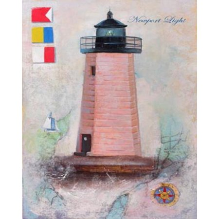 Newport Light by Robert Downs 20x16 Poster LIGHTHOUSE NEWPORT RI GOAT ISLAND NAUTICAL COASTAL OCEAN LIGHT FLAGS NEWPORT HARBOR LIGHT US COAST GUARD (Coastal Harbor Light)