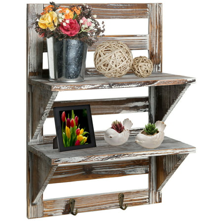 2-Tier Rustic Wood Wall Mounted Organizer Shelves w/ 2 Key Hooks ()