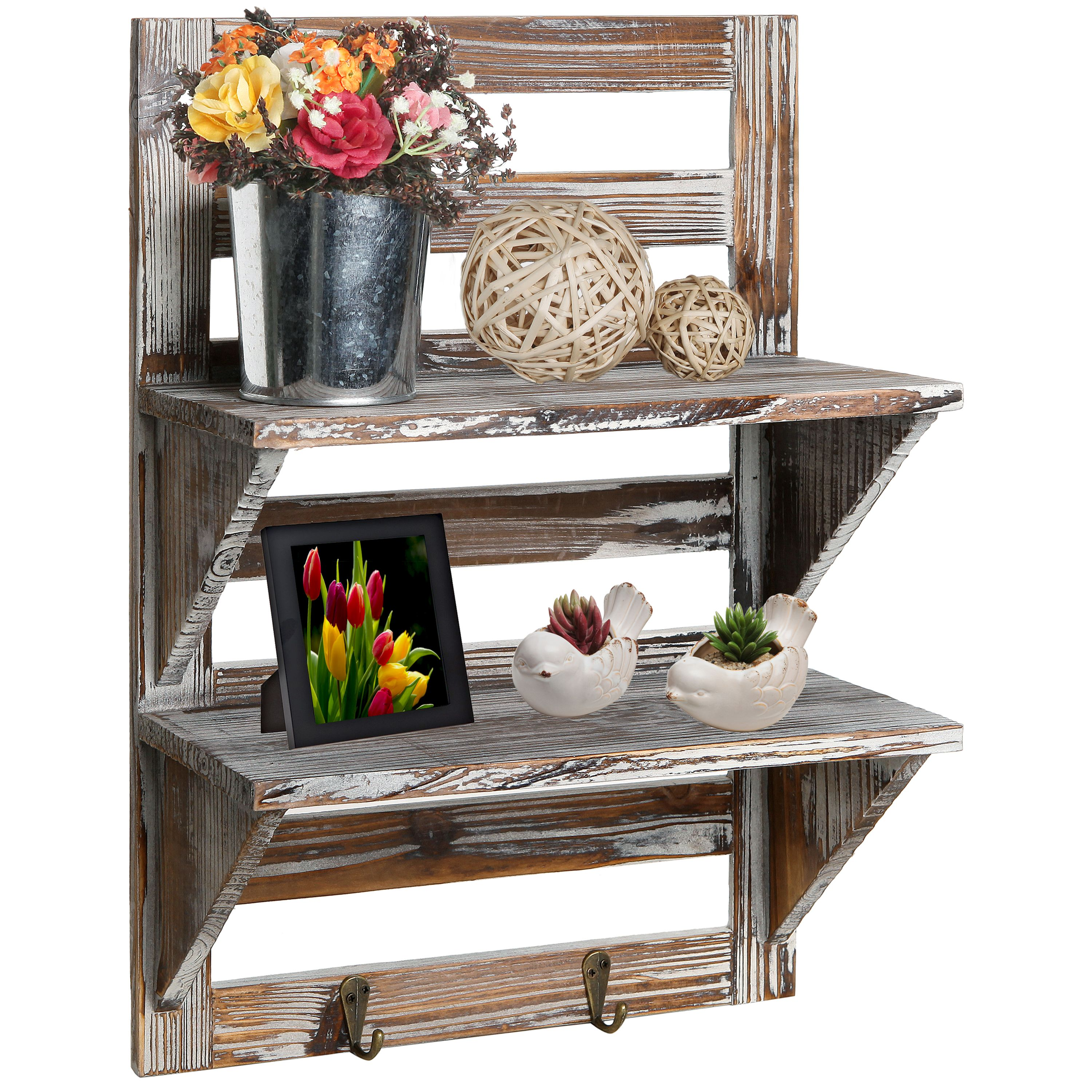 2-Tier Rustic Wood Wall Mounted Organizer Shelves w/ 2 Key Hooks