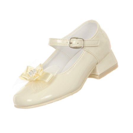 Rain Kids Little Girls Ivory Patent Bow Glittery Stud Dress Shoes 6.5-10 Toddler - Ivory Dress Shoes Toddler
