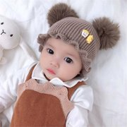 Popvcly Fashion Baby Girls Boys Toddler Cartoon Print Hats With Ball Design Casual Caps Headwear,Brown