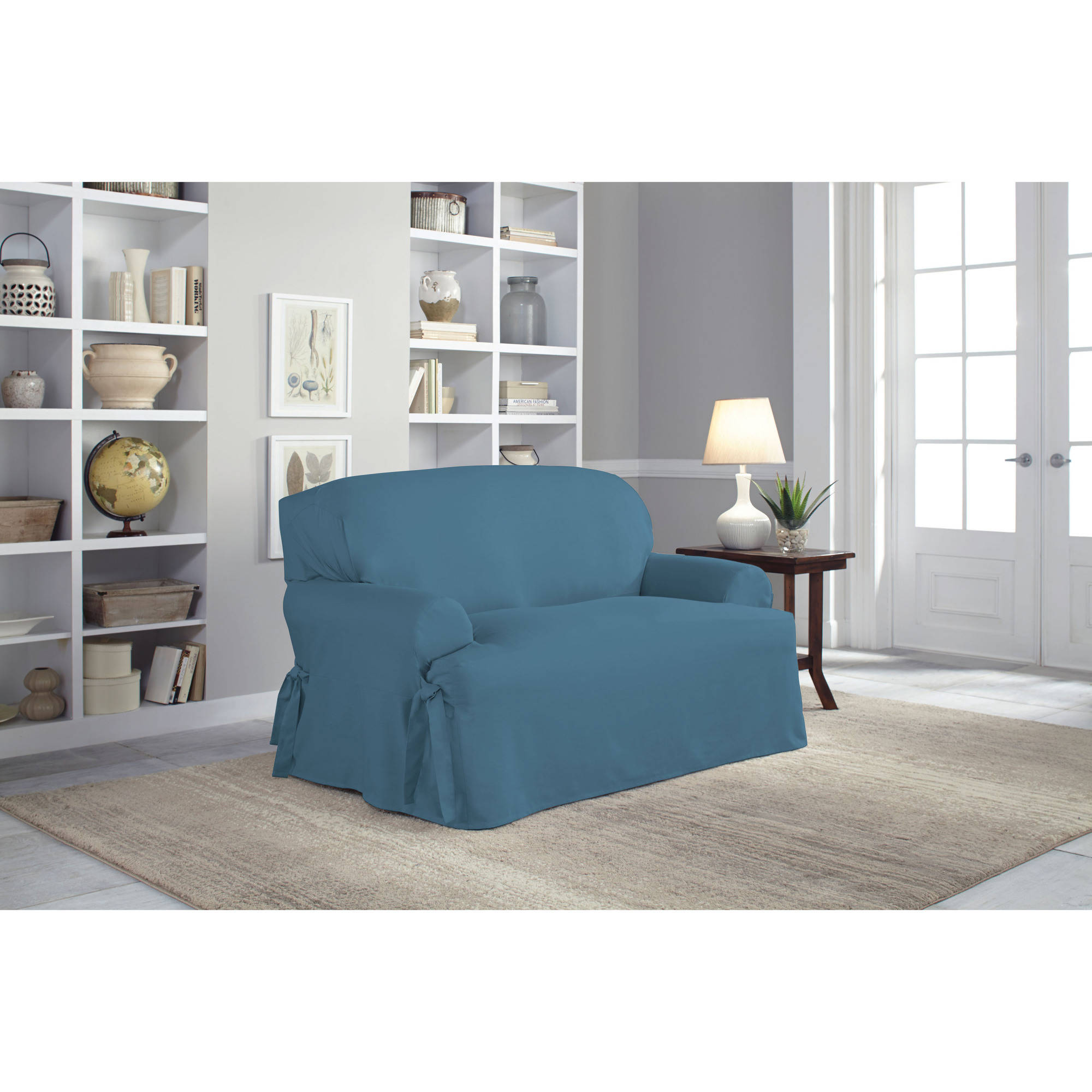 Serta Relaxed Fit Duck Furniture Slipcover Loveseat 1 Piece T  ~ Turquoise Slipcover Sofa