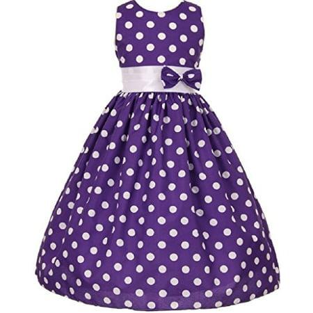 Polka Dot Bow Dress - Little Girls Polka Dot Allover Bow Accented Flowers Girls Dresses Purple 2 (S10H03)
