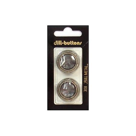 Dill Buttons 25mm 2pc Shank Grey/Silver Metal Designer Metal Shank Buttons