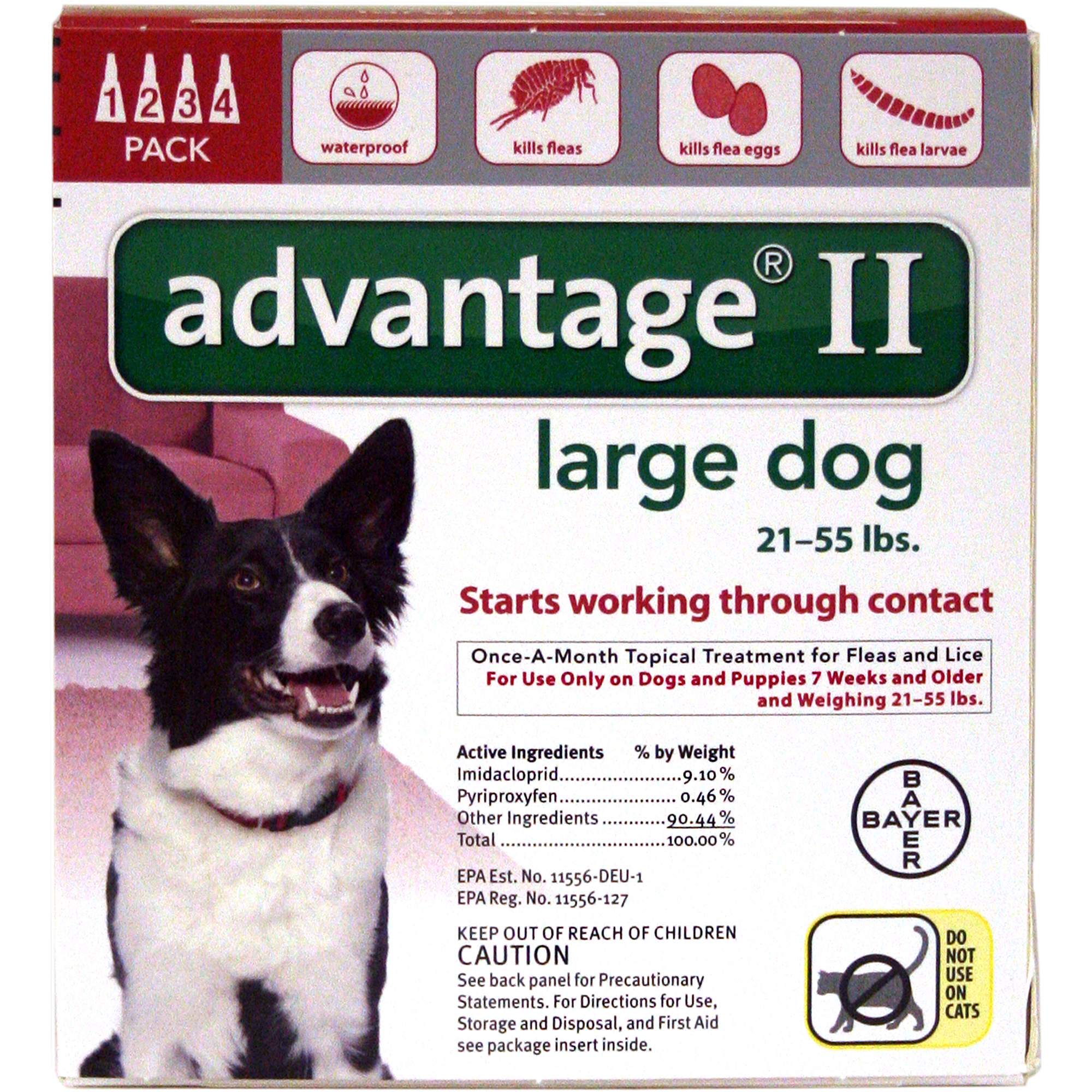 Advantage II Flea and Lice Topical Treatment for Dogs, 21-55 lbs, 4-Count