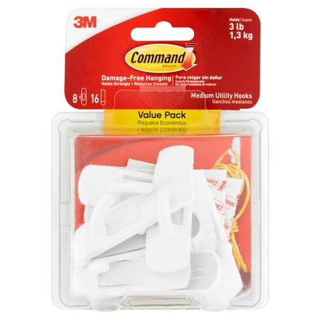 Command Hooks Value Pack  White  Medium  8 Hooks  16 Strips Pack