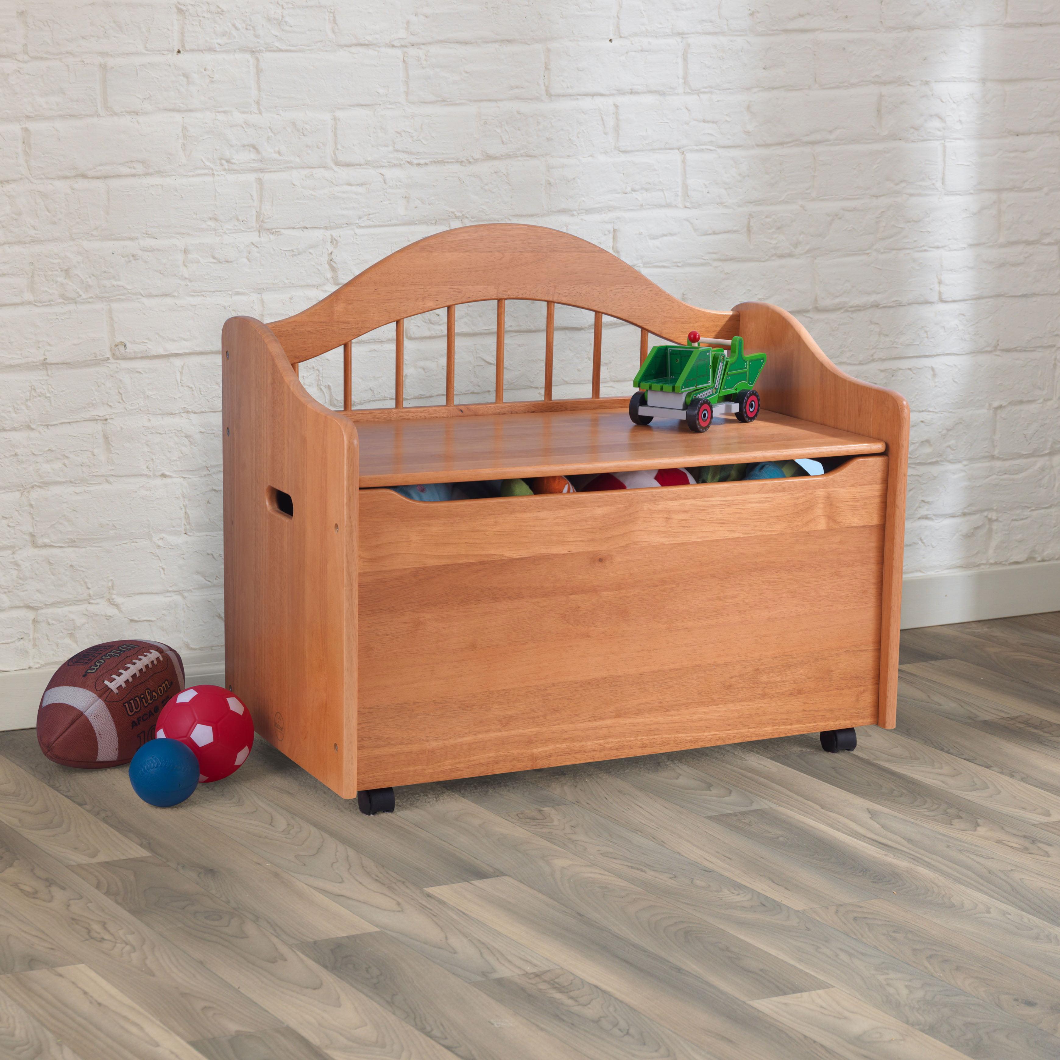 details about kidkraft wooden toy chest box sitting bench kids room linen  storage organizer