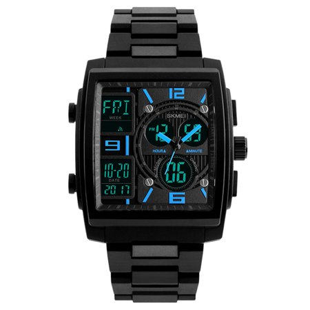 - Men's Watch Large Square Military Sports Analog Digital Outdoor Waterproof Wrist Watch (Blue)