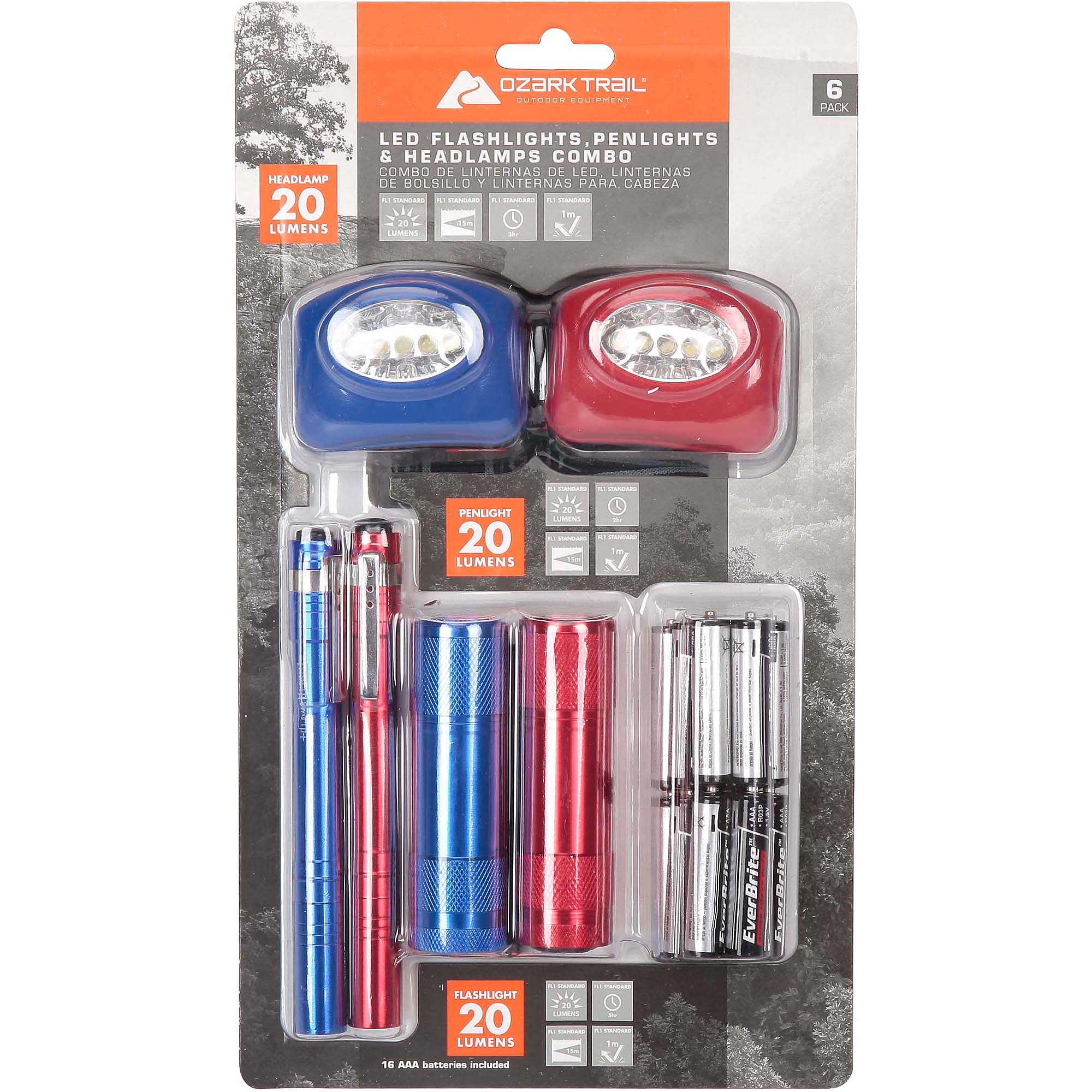 Ozark Trail LED Flashlight and Penlight and Headlamp Combo, 6-Pack
