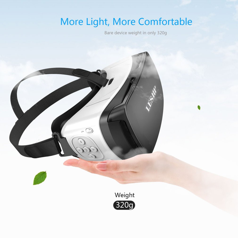 LESHP Bluetoot h 3D VR Glasses Headset Virtual Reality Goggles VR Box Play Movies Photos Enjoyment for Smartphones