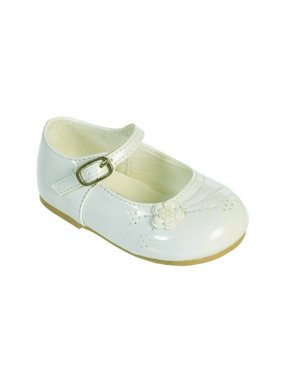Off white girls dress shoes walmart girls ivory flower applique patent leather mary jane dress shoes mightylinksfo