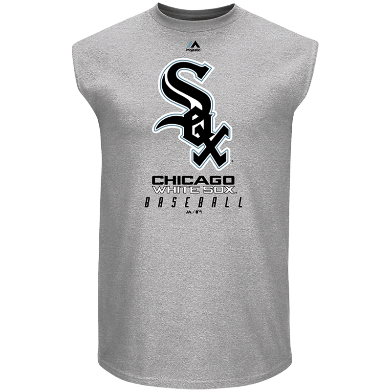 Chicago White Sox Majestic Big & Tall Muscle Tank Top - Heathered Gray