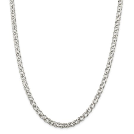 Sterling Silver 5.25mm Double 6 Side Diamond Cut Flat Link Chain Necklace