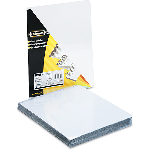 "Fellowes Transparent PVC Binding System Covers, 8 3/4"" x 11 1/4"", Clear, 100/Pack"