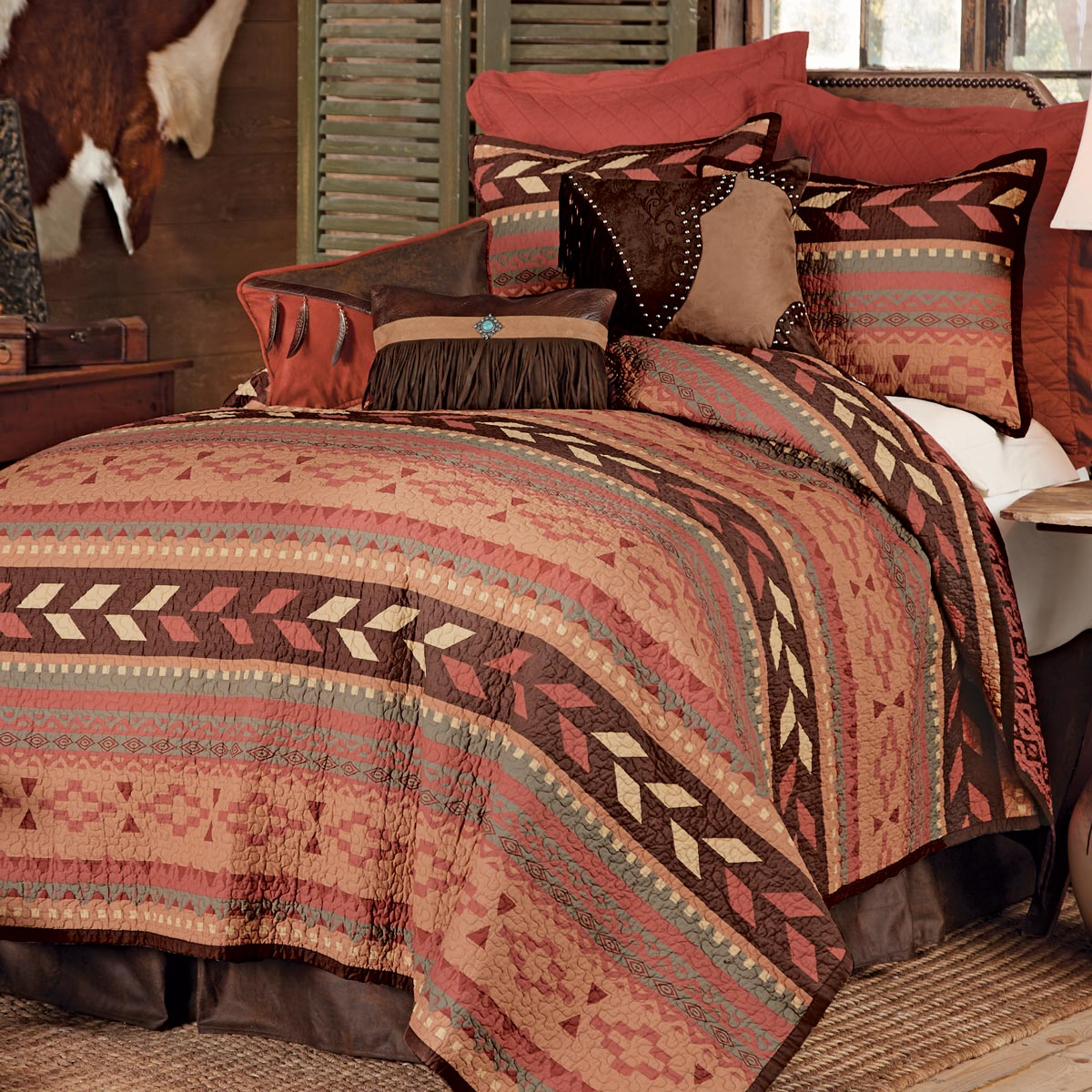 Lone Star Western Decor Broken Arrow Quilt Bed Set - Twin
