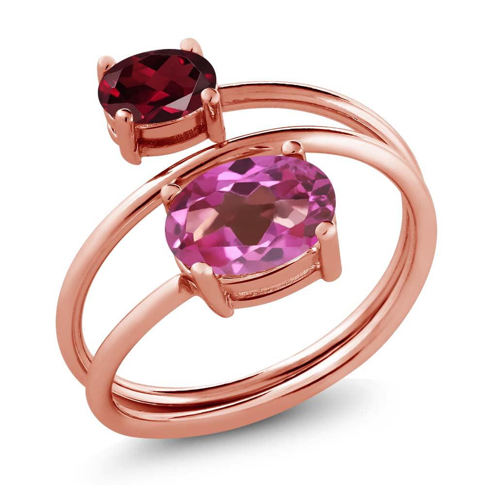 2.30 Ct Pink Mystic Topaz Red Rhodolite Garnet 18K Rose Gold Plated ...
