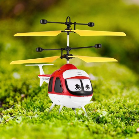 Induction Flying Toys Mini RC Helicopter Cartoon Remote Control Drone Aircraft for Kid Plane Toys Floating Toys Boy Gift,Red