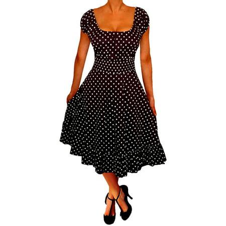 Funfash Plus Size Women Polka Dots Rockabilly Retro Black Cocktail Dress Made In Usa